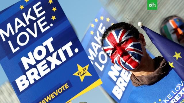 Принято решение об отсрочке Brexit.Евросоюз готов предоставить Лондону отсрочку по Brexit до 22 мая, если британские парламентарии одобрят соглашение. Если же члены парламента снова отклонят документ, отсрочка продлится только до 12 апреля.Великобритания, Европейский союз.НТВ.Ru: новости, видео, программы телеканала НТВ