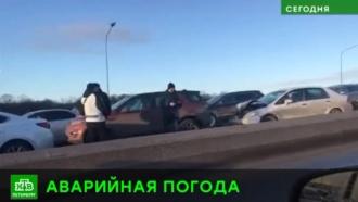 Гололед привел к массовым ДТП в Петербурге и области