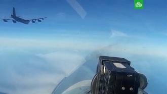 Видео сопровождения бомбардировщика США российским <nobr>Су-27</nobr>