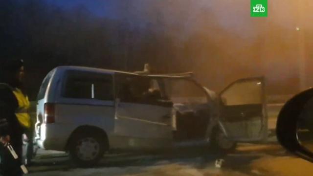 ВПодмосковье при столкновении микроавтобуса сфурой погибли шесть человек.ДТП, Московская область, автобусы, грузовики.НТВ.Ru: новости, видео, программы телеканала НТВ