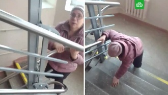 Вуральской больнице сняли на видео ползущую по лестнице пациентку