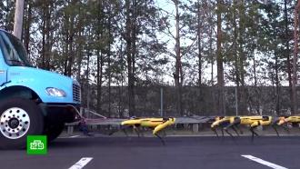 Роботы Boston Dynamics научились буксировать многотонный грузовик