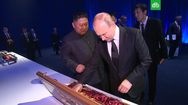 Ким Чен Ын подарил Путину меч.Ким Чен Ын, Путин, Северная Корея, переговоры.НТВ.Ru: новости, видео, программы телеканала НТВ