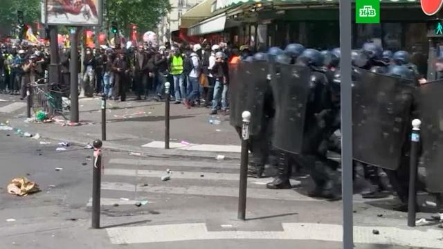 В Париже начались столкновения демонстрантов с полицией.Париж, Франция, беспорядки.НТВ.Ru: новости, видео, программы телеканала НТВ