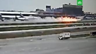 Новое видео огненной посадки <nobr>SSJ-100</nobr> вШереметьево