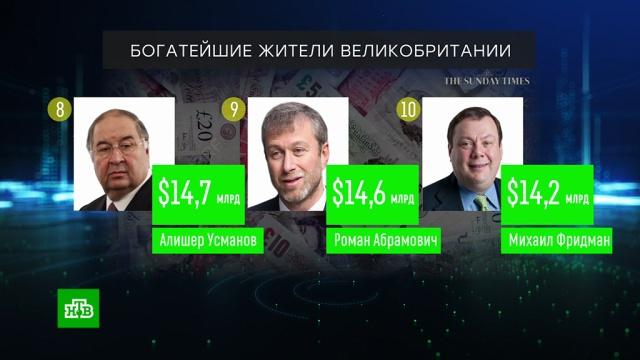 Трое россиян вошли вдесятку богатейших людей Британии.Великобритания, миллионеры и миллиардеры, рейтинги.НТВ.Ru: новости, видео, программы телеканала НТВ