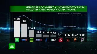 НТВ— лидер среди телеканалов по цитируемости вСМИ по итогам <nobr>ПМЭФ-2019</nobr>