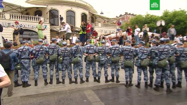 ВМоскве задержали около 200участников несанкционированной акции вподдержку Голунова.Москва, журналистика, задержание, митинги и протесты.НТВ.Ru: новости, видео, программы телеканала НТВ