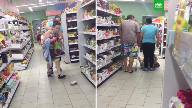Покупательницу оттаскали по полу вмагазине из-за конфет.Московская область, драки и избиения, магазины.НТВ.Ru: новости, видео, программы телеканала НТВ