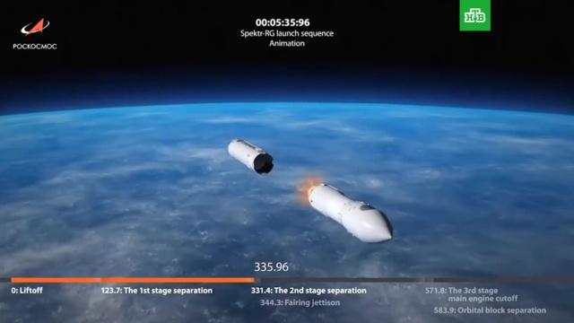 «Протон» стелескопом «Спектр-РГ» стартовал сБайконура.Байконур, Протон-М, запуски ракет, космос.НТВ.Ru: новости, видео, программы телеканала НТВ
