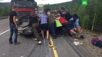 Водители в Забайкалье спасли женщину из перевернувшегося автомобиля