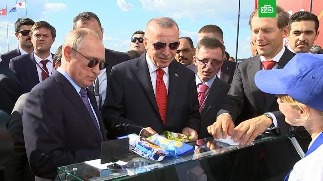 Путин угостил Эрдогана российским мороженым.авиасалоны и авиашоу, авиация, мороженое, Путин, самолеты, Эрдоган.НТВ.Ru: новости, видео, программы телеканала НТВ