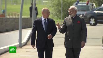 Путин иМоди на катере прибыли на верфь «Звезда»