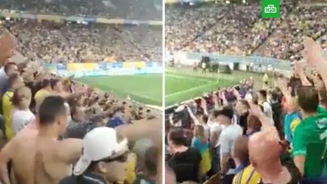 На Украине сняли на видео «зигующий» стадион.Экс-премьер Украины Николай Азаров опубликовал видео, на котором видно, как пришедшие на матч Украина — Сербия украинцы вскидывают руки в нацистском приветствии.национальная рознь, Украина, фашизм, футбол.НТВ.Ru: новости, видео, программы телеканала НТВ