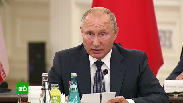 Путин призвал Турцию иИран сообща устранить террористическую угрозу из Идлибской зоны.Иран, Путин, Сирия, Турция, переговоры.НТВ.Ru: новости, видео, программы телеканала НТВ