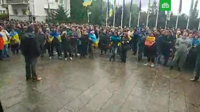 В Киеве проходит митинг против «формулы Штайнмайера».ДНР, Киев, ЛНР, митинги и протесты, Украина.НТВ.Ru: новости, видео, программы телеканала НТВ