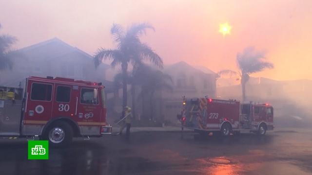 Жителям горящей Калифорнии приходится пробиваться через стены огня.США, лесные пожары, стихийные бедствия.НТВ.Ru: новости, видео, программы телеканала НТВ