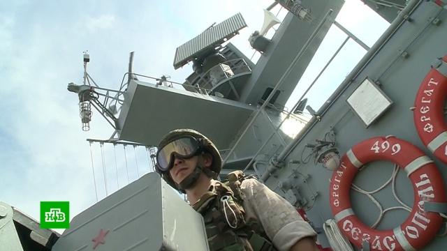 Фрегат «Адмирал Макаров» провел учебные стрельбы у берегов Сирии.Сирия, армия и флот РФ, учения.НТВ.Ru: новости, видео, программы телеканала НТВ