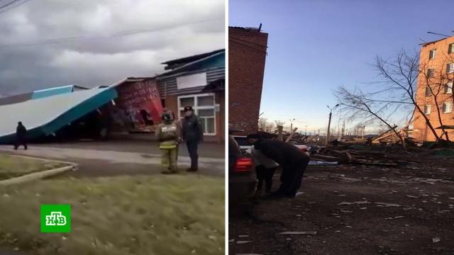 В городах Сибири устраняют последствия мощного ураганного ветра.Барнаул, Иркутская область, Сибирь, штормы и ураганы.НТВ.Ru: новости, видео, программы телеканала НТВ