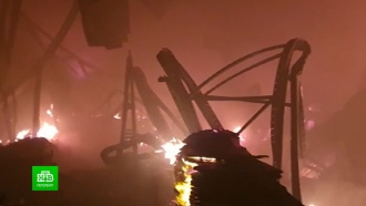 Локализованный пожар обрушил ангар на юге Петербурга