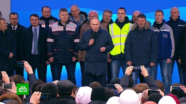 Проект мирового уровня: Путин поблагодарил строителей Крымского моста.Крым, Путин, железные дороги, мосты, поезда.НТВ.Ru: новости, видео, программы телеканала НТВ