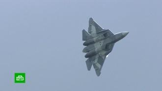 При падении истребитель Су-57 взорвался и развалился на части