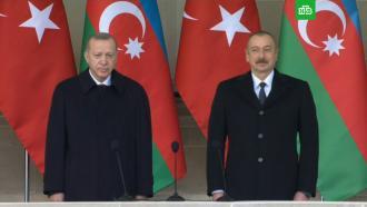 Алиев иЭрдоган открыли парад вчесть победы вКарабахе