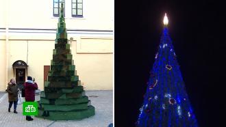 Российские города соревнуются вкреативности новогодних елей