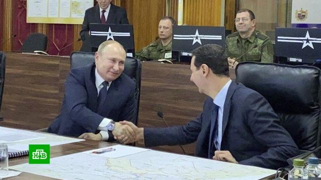 Путин приехал вДамаск ивстретился сАсадом.Асад, Песков, Путин, Сирия.НТВ.Ru: новости, видео, программы телеканала НТВ