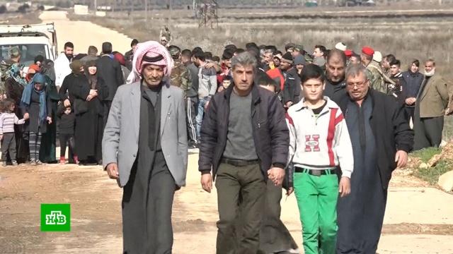 Из подконтрольных боевикам районов идлибской зоны начали выводить мирных жителей.Сирия, армия и флот РФ, беженцы, войны и вооруженные конфликты.НТВ.Ru: новости, видео, программы телеканала НТВ