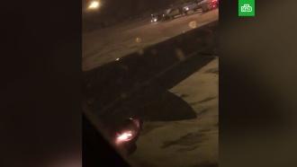 ВНовосибирске при взлете загорелся двигатель пассажирского самолета