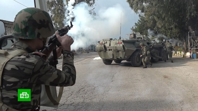 Российские исирийские военные отработали действия по защите порта от боевиков.Сирия, армии мира, армия и флот РФ, порты, учения.НТВ.Ru: новости, видео, программы телеканала НТВ