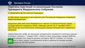 Путин дал поручения по организации выплат на детей