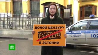 Пикет вподдержку журналистов Sputnik прошел упосольства Эстонии вМоскве