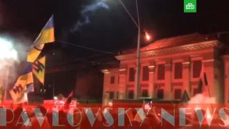 Радикалы обстреляли из ракетницы российское посольство вКиеве