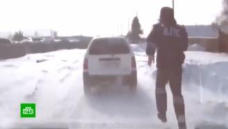 Иркутский инспектор ДПС бегом догнал автомобиль нарушителя
