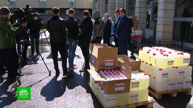 Петербургскому НИИ скорой помощи подарили сотни литров антисептика.Санкт-Петербург, благотворительность, больницы, коронавирус, эпидемия.НТВ.Ru: новости, видео, программы телеканала НТВ