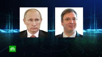 Вучич поблагодарил Путина за помощь вборьбе с<nobr>COVID-19</nobr>