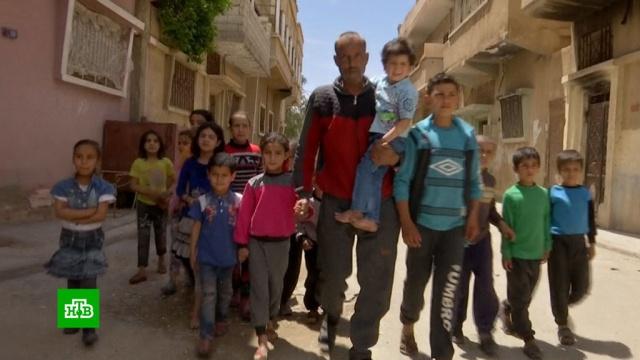 Выбравшиеся из лагеря «Рукбан» сирийские беженцы возвращаются врайон Пальмиры.Сирия, беженцы, войны и вооруженные конфликты, терроризм.НТВ.Ru: новости, видео, программы телеканала НТВ