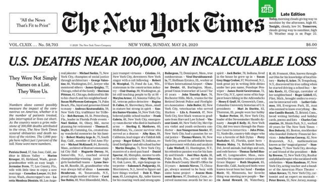 The New York Times опубликовала на первой полосе имена умерших от коронавируса.США, болезни, журналистика, коронавирус, смерть, эпидемия.НТВ.Ru: новости, видео, программы телеканала НТВ