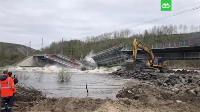 ВМурманской области железнодорожный мост рухнул вреку.Мурманская область, мосты, обрушение.НТВ.Ru: новости, видео, программы телеканала НТВ