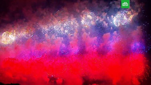 Празднование 75-летия Победы вМоскве завершилось красочным салютом.Великая Отечественная война, День Победы, Москва, торжества и праздники.НТВ.Ru: новости, видео, программы телеканала НТВ