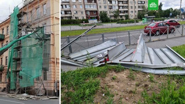 Шторм повалил рекламные щиты истроительные леса вПетербурге.Санкт-Петербург, погода, штормы и ураганы.НТВ.Ru: новости, видео, программы телеканала НТВ