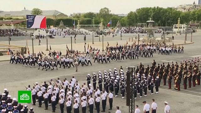 Париж встретил День взятия Бастилии парадом.Макрон, Путин, Франция, авиация, армии мира, парады, торжества и праздники.НТВ.Ru: новости, видео, программы телеканала НТВ
