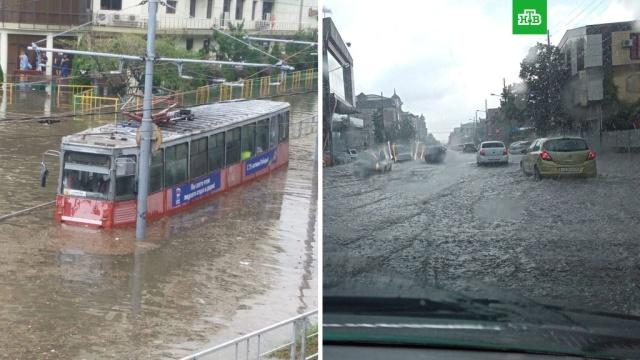 Мощный ливень превратил улицы Краснодара в реки.Мощный ливень обрушился на Краснодар и превратил улицы в реки..Краснодар, погода, погодные аномалии.НТВ.Ru: новости, видео, программы телеканала НТВ