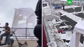 Вышедший из моря смерч разрушил пляж в Сочи
