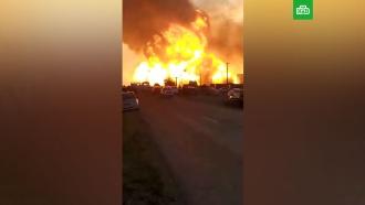 Мощный пожар на газовой АЗС на Кубани