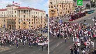 Многотысячная колонна протестующих вышла кДому правительства вМинске