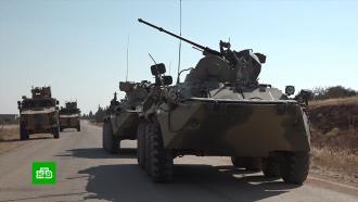 Российские военные на БТР итурецкие на «Ежах» устроили вСирии совместное маневрирование