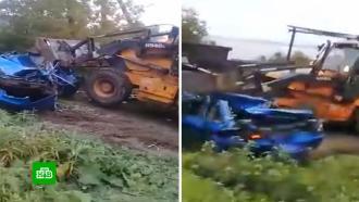«Димон, остановись!»: тракторист раздавил машину врага перед видеокамерой